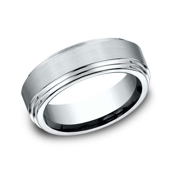 14 Karat White Gold Step End Comfort Fit Wedding Band 8 MM J. Thomas Jewelers Rochester Hills, MI