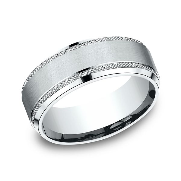 8MM Comfort-Fit Wedding Band with Knurled Edge and Satin Finish Center