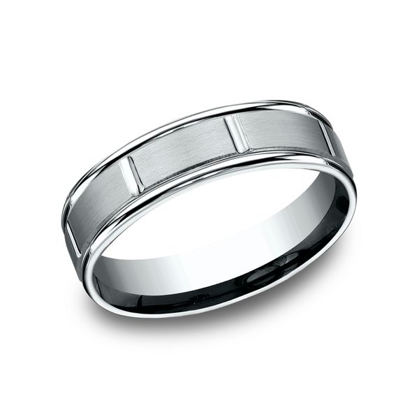 14 Karat White Gold Comfort Fit Wedding Band With Satin Center, 6 MM J. Thomas Jewelers Rochester Hills, MI