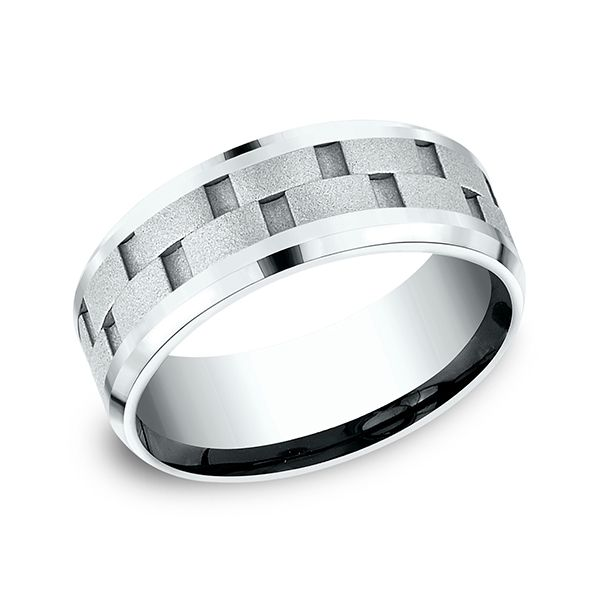 Comfort-Fit Band with Uniquely Cut Center 8 MM J. Thomas Jewelers Rochester Hills, MI
