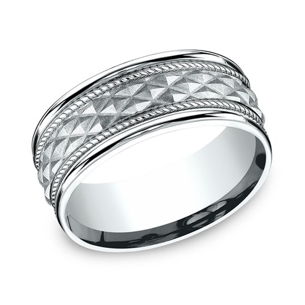 14 Karat White Gold Triangle Pattern With Carved Rope Pattern, 8 MM J. Thomas Jewelers Rochester Hills, MI