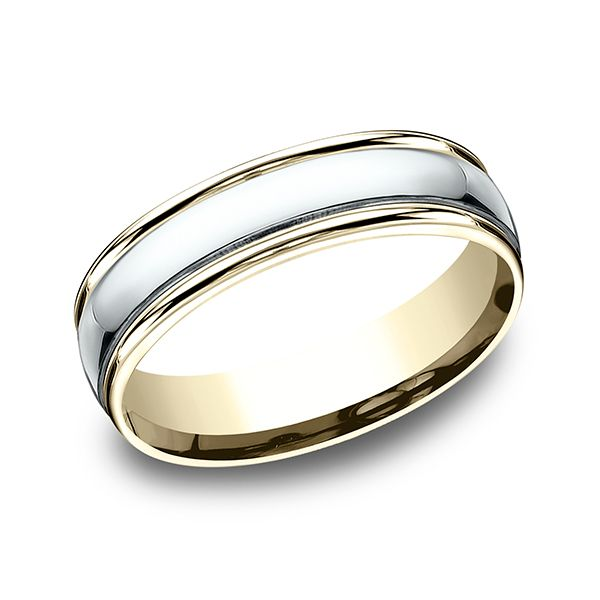 14 Karat Two-Toned 6 MM Comfort-Fit High Polished Carved Band J. Thomas Jewelers Rochester Hills, MI