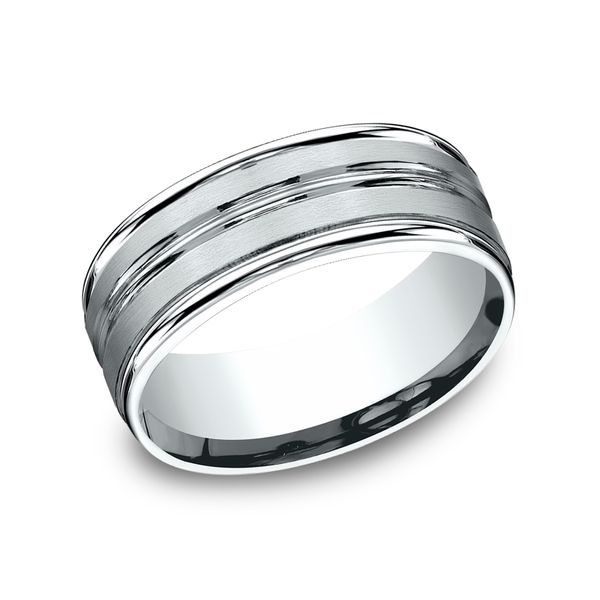 14 Karat White Gold Comfort Fit Wedding Band With Satin Finish, 8 MM J. Thomas Jewelers Rochester Hills, MI