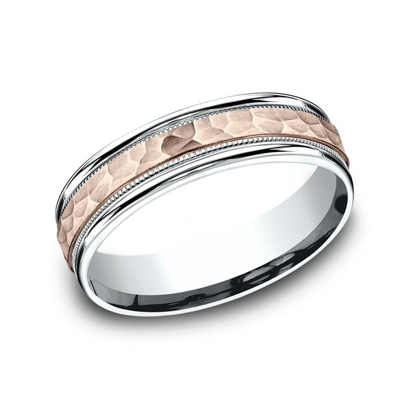 14 Karat Two-Tone 6 MM Comfort-Fit Band With Rose Gold Hammer Finish Center J. Thomas Jewelers Rochester Hills, MI