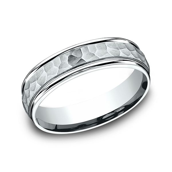 6MM Carved Design Comfort Fit Band with Hammered-Finished Center and High Polished Edge. J. Thomas Jewelers Rochester Hills, MI