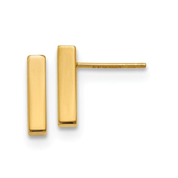 14K Polished Post Bar Earrings J. Thomas Jewelers Rochester Hills, MI