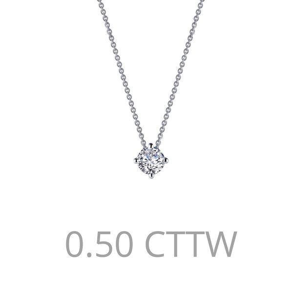 Adjustable Round Solitaire Necklace Is Set With Lafonn's Signature Lassaire Simulated Diamonds 0.50 Ctw In Sterling Silver Bonde J. Thomas Jewelers Rochester Hills, MI