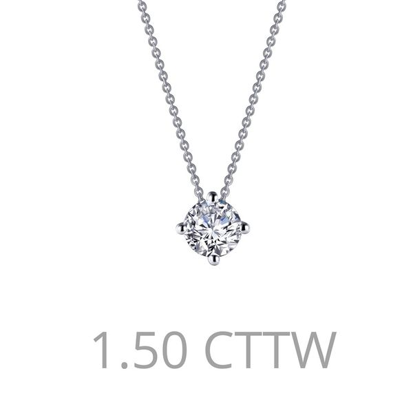 Adjustable Round Solitaire Necklace Is Set With Lafonn's Signature Lassaire Simulated Diamonds 1.50 Ctw In Sterling Silver Bonde J. Thomas Jewelers Rochester Hills, MI