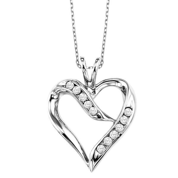 Sterling Silver And Diamond Heart Pendant J. Thomas Jewelers Rochester Hills, MI