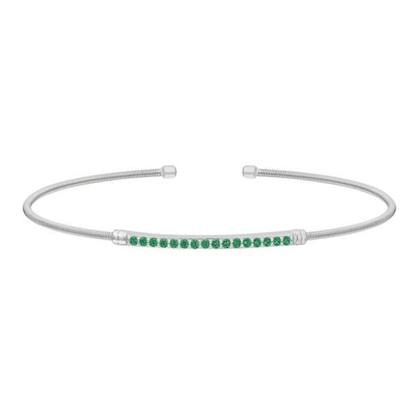 Sterling Silver Cable Cuff Bracelet with Simulated Emeralds J. Thomas Jewelers Rochester Hills, MI
