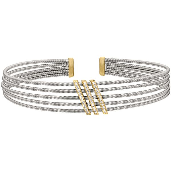Sterling Silver Multi Cable Cuff Bracelet with Gold Finish J. Thomas Jewelers Rochester Hills, MI