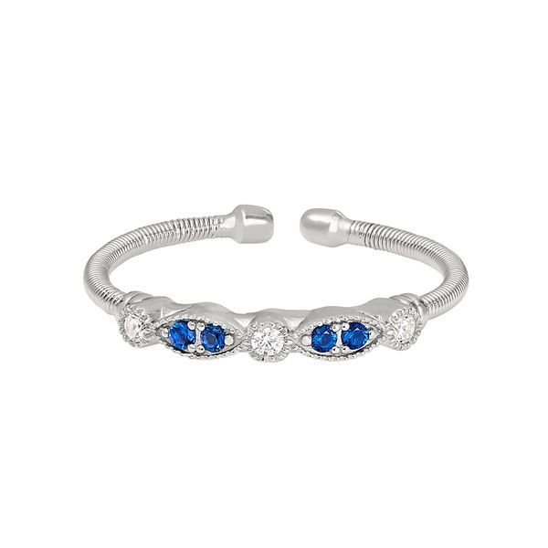 Sterling Silver Cable Cuff Ring with Simulated Blue Sapphire and Simulated Diamond J. Thomas Jewelers Rochester Hills, MI