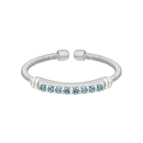 Sterling Silver Cable Cuff Ring with Simulated Aquamarine J. Thomas Jewelers Rochester Hills, MI