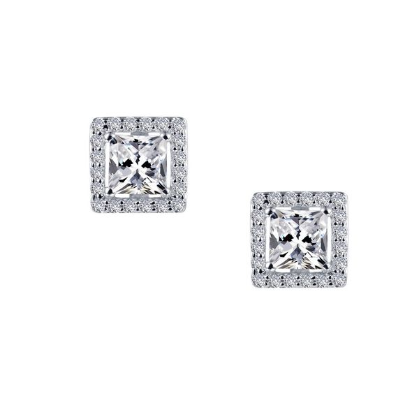 Timeless Elegance Earrings Feature Lafonn Lassaire Princess And Round Simulated Diamonds In Sterling Silver Bonded With Platinum J. Thomas Jewelers Rochester Hills, MI