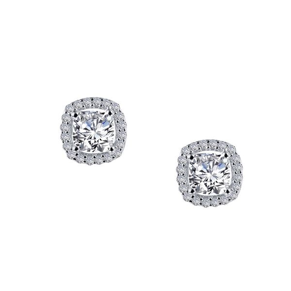 Timeless Elegance. These Halo Earrings Feature Lafonn Lassaire Cushion Simulated Diamonds In Sterling Silver Bonded With Platinu J. Thomas Jewelers Rochester Hills, MI