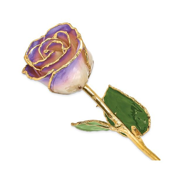 24K Gold And Lacquer Dipped White and Blue Opal Rose J. Thomas Jewelers Rochester Hills, MI