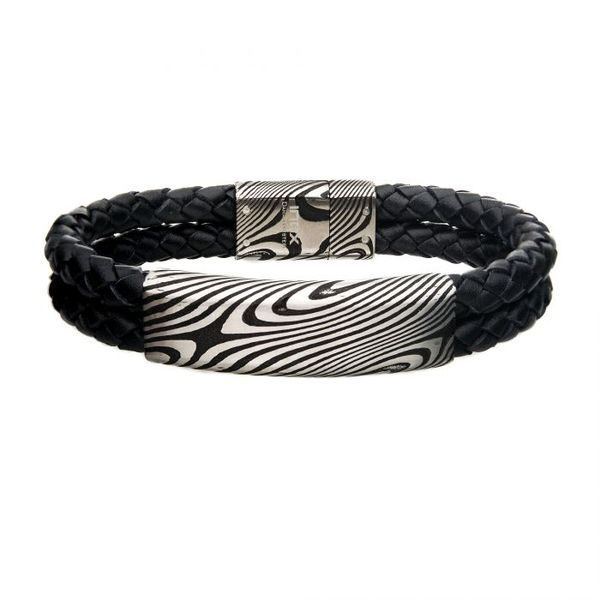 Black Leather  Damascus  Bracelet J. Thomas Jewelers Rochester Hills, MI