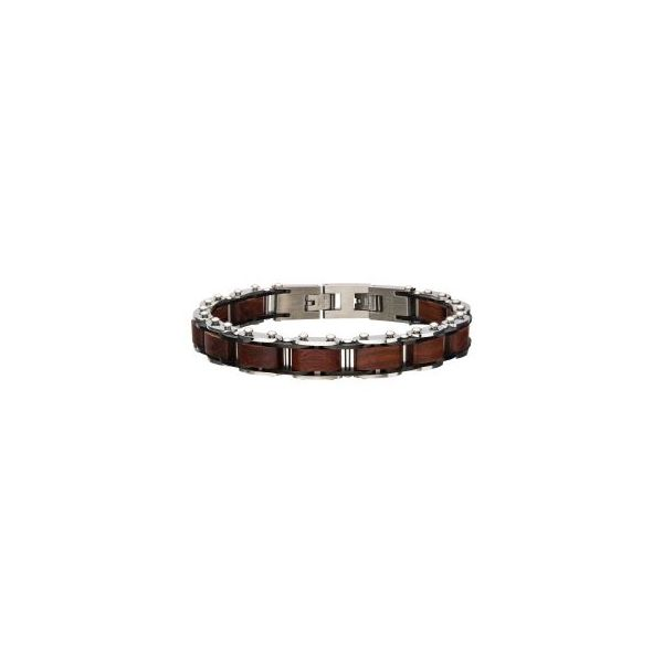 Stainless Steel with Red Sandal Wood Link Bracelet J. Thomas Jewelers Rochester Hills, MI