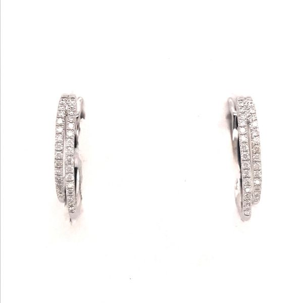 14K White Gold Diamond Hoop Earrings JWR Jewelers Athens, GA