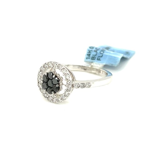 14K White Gold 0.65ct Diamond Ring with Black Diamonds Si1, G Image 5 Kingsmark Jewelers Jacksonville, FL
