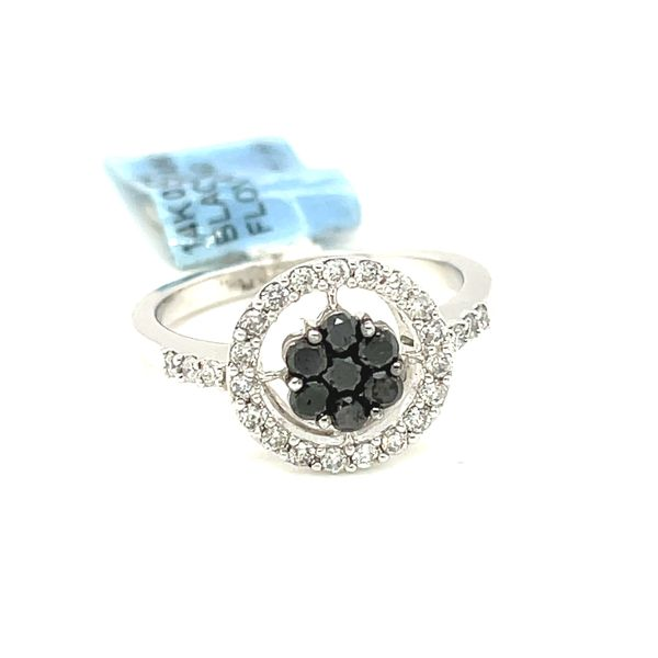 14K White Gold 0.65ct Diamond Ring with Black Diamonds Si1, G Kingsmark Jewelers Jacksonville, FL
