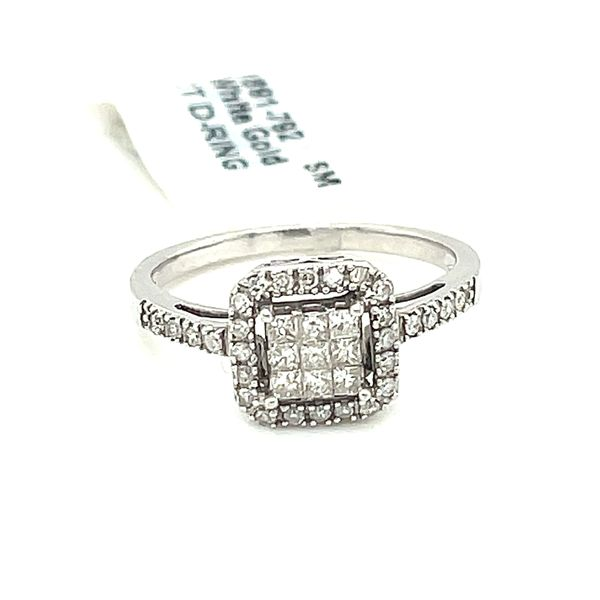 10K White Gold 0.35ct Diamond Cluster Halo Ring Si1 G Image 3 Kingsmark Jewelers Jacksonville, FL