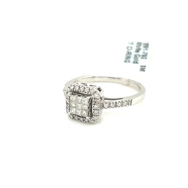 10K White Gold 0.35ct Diamond Cluster Halo Ring Si1 G Image 4 Kingsmark Jewelers Jacksonville, FL
