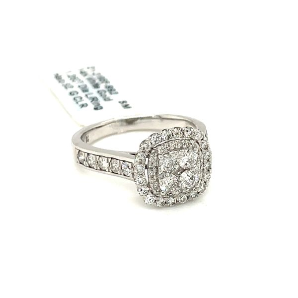 14K White Gold 1.25ct Diamond Ring Halo SI2, G Image 3 Kingsmark Jewelers Jacksonville, FL