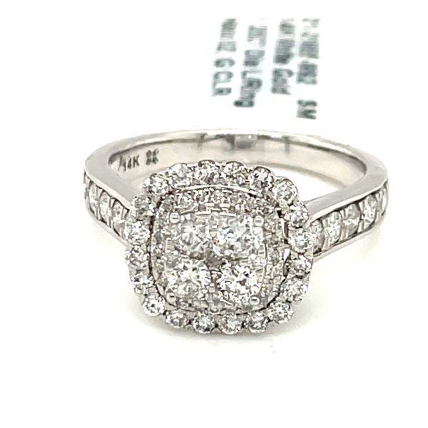 14K White Gold 1.25ct Diamond Ring Halo SI2, G Kingsmark Jewelers Jacksonville, FL