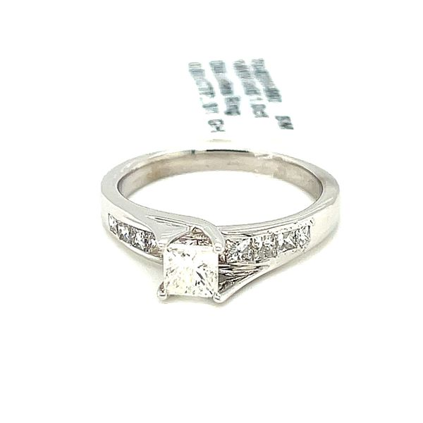 14KW Gold 1.0ct Diamond Ladies Ring Princess Cut 0.50ct CTR, Si1, GH Image 2 Kingsmark Jewelers Jacksonville, FL