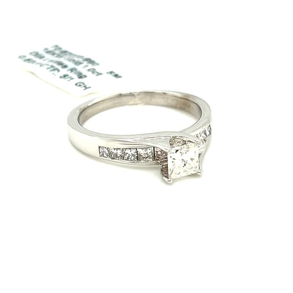 14KW Gold 1.0ct Diamond Ladies Ring Princess Cut 0.50ct CTR, Si1, GH Image 3 Kingsmark Jewelers Jacksonville, FL