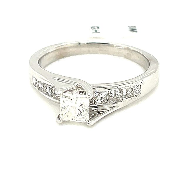 14KW Gold 1.0ct Diamond Ladies Ring Princess Cut 0.50ct CTR, Si1, GH Kingsmark Jewelers Jacksonville, FL