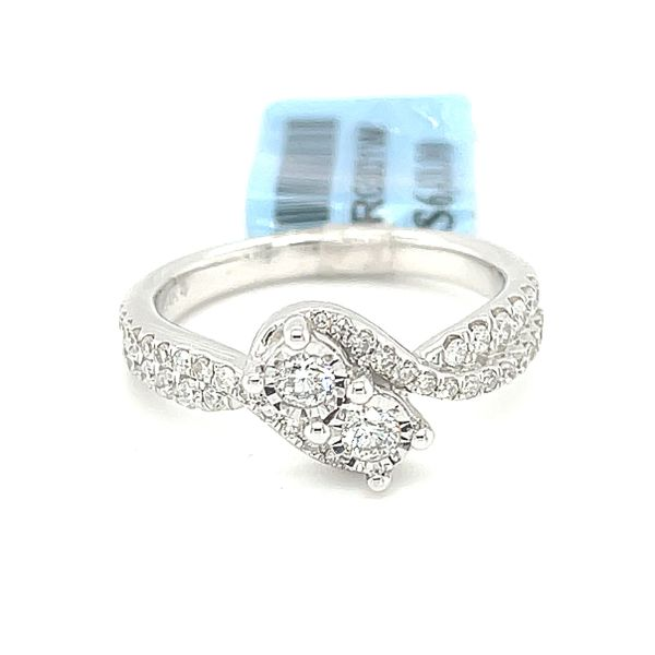 14K White Gold 0.50ct Diamond Two Stone Ladies Ring Si G Kingsmark Jewelers Jacksonville, FL