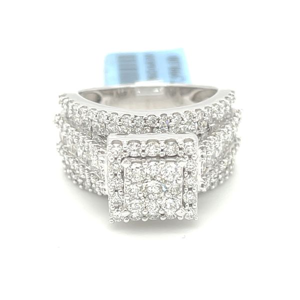 14KW Gold 3.00ct Diamond Square Cluster Ring Si1, G Kingsmark Jewelers Jacksonville, FL
