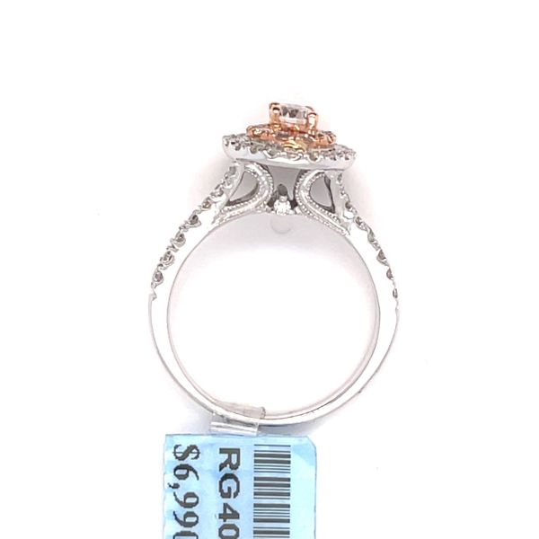14K W+R Gold 1.00ct Diamond Halo Ring Si1, G (CTR 0.25ct) Image 2 Kingsmark Jewelers Jacksonville, FL