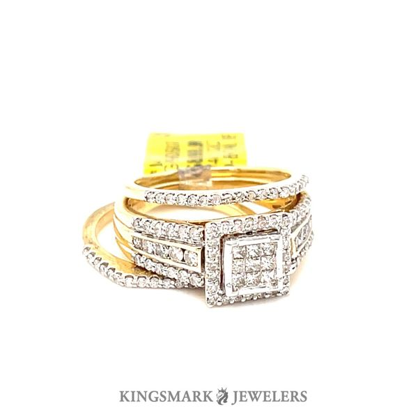 14K Yellow Gold 1.02ct Princess Cut Diamond-Bridal Set SI GS Kingsmark Jewelers Jacksonville, FL