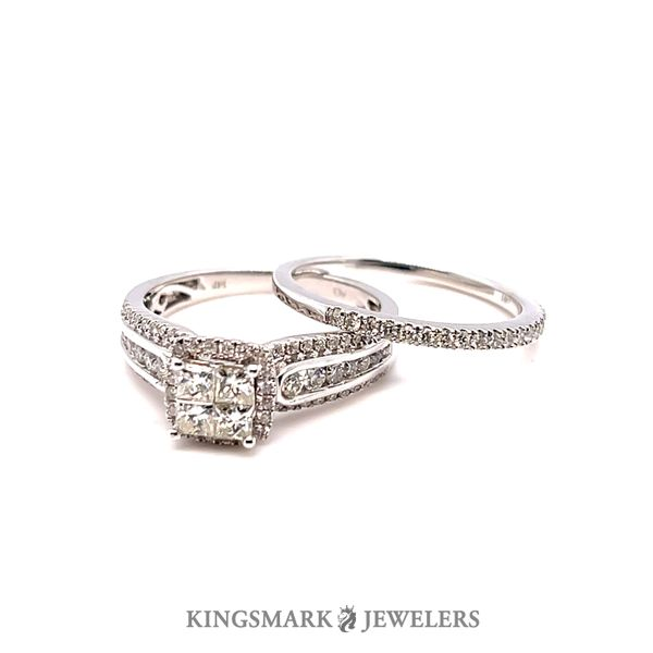 14KW Gold Approx 1.00ct Diamond Quad Halo Bridal Set Si1, GH Kingsmark Jewelers Jacksonville, FL