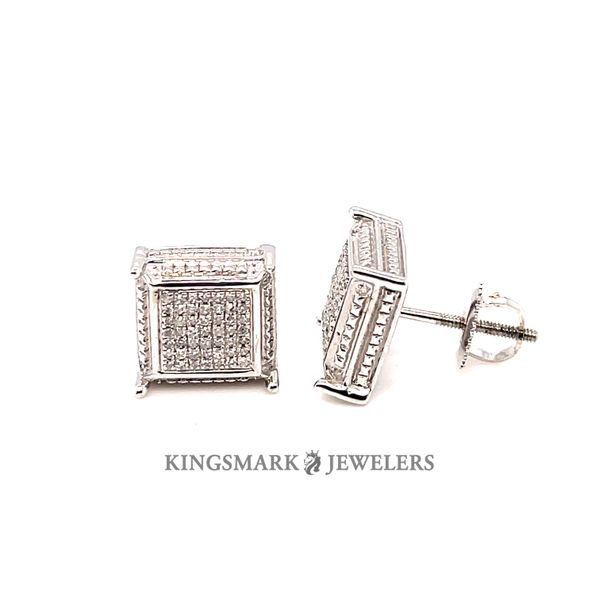 10K White Gold 0.15ct Diamond Screw Back Earrings Kingsmark Jewelers Jacksonville, FL