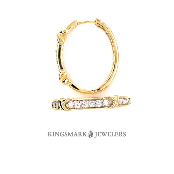10K Yellow Gold 0.75ct DIA Ladies Hoop Earrings, J/I Kingsmark Jewelers Jacksonville, FL