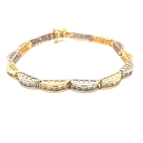 14K TT Gold 3.75ct Diamond Bracelet 7