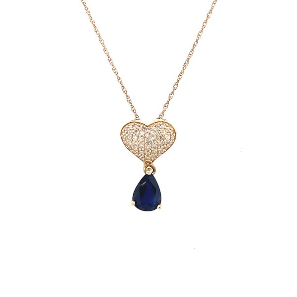 10K Yellow Gold 0.25ct Diamond Pendant Set Sapphire Kingsmark Jewelers Jacksonville, FL