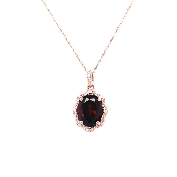 10K Yellow Gold 0.15ct Diamond Garnet Pendant Set Kingsmark Jewelers Jacksonville, FL