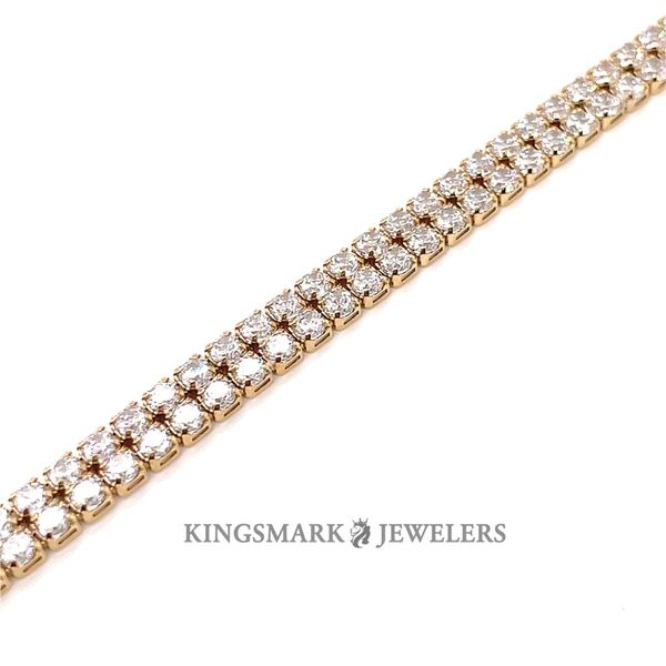 10K Yellow Gold CZ Tennis 2 Row Bracelet 6mm 8