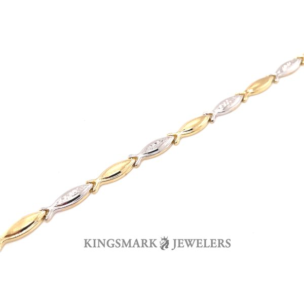 10K Gold 2-Tone Ladies Bracelet 7.5