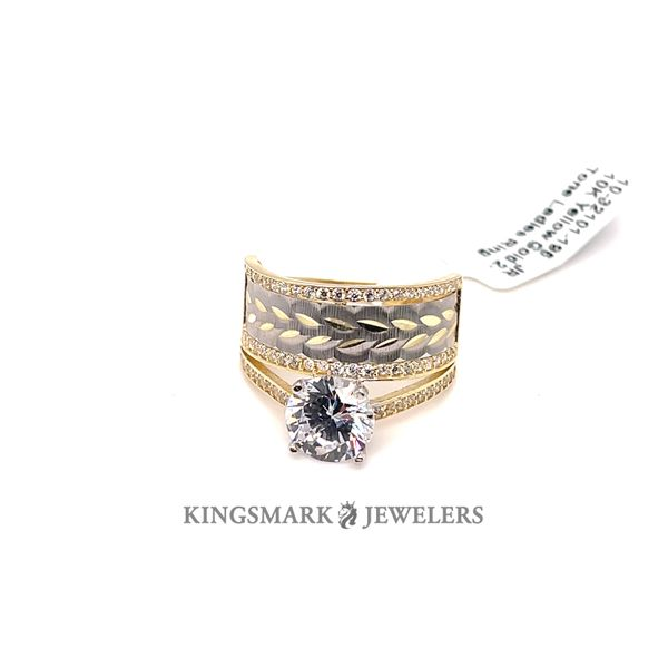 10K Yellow Gold 2-Tone CZ Ladies Ring Kingsmark Jewelers Jacksonville, FL