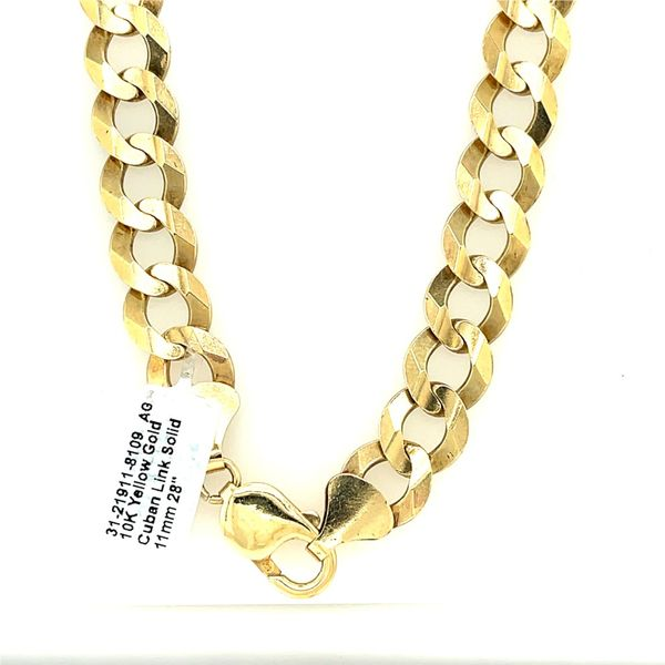 10K Yellow Gold Cuban Link Solid 11mm 28