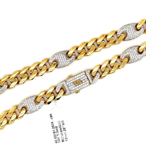 10K Y.Gold CZ M.Cuban+Gucci Chain 10mm 26