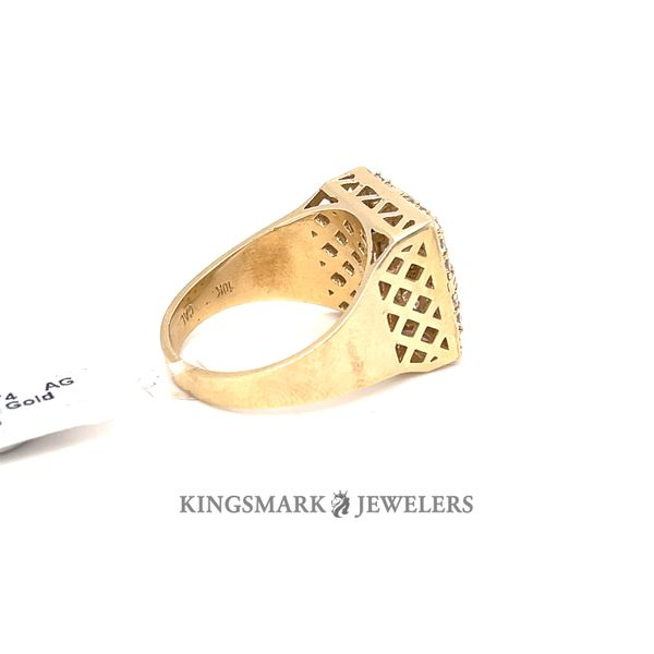 10K Yellow Gold CZ Mens Ring Square Face with Ankh Image 2 Kingsmark Jewelers Jacksonville, FL