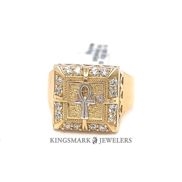 10K Yellow Gold CZ Mens Ring Square Face with Ankh Kingsmark Jewelers Jacksonville, FL