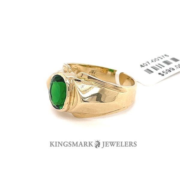 10K Yellow Gold Men's Ring with Green Stone Image 2 Kingsmark Jewelers Jacksonville, FL